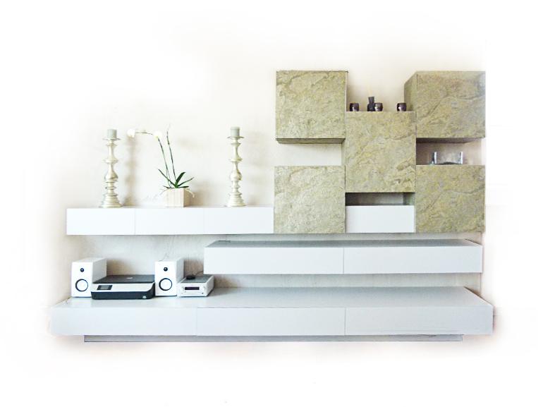Wohnzimmer-Wandverbau-weiß-Hochglanz-lackiertEcht-Schiefer