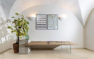 Sitzbank-3Elemente-BetonGlasEiche-lackiert-Kunstdruck-JamesDean1
