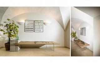 Sitzbank-3Elemente-BetonGlasEiche-lackiert-Kunstdruck-JamesDean2